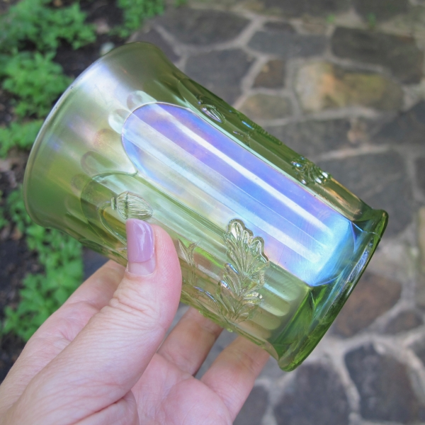 Antique Northwood Oriental Poppy Lime Green Carnival Glass Tumbler Ribbed Int.