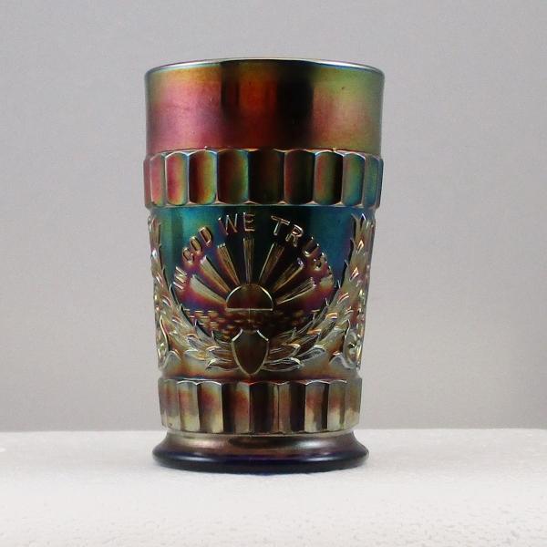 Antique Dugan Blue God & Home Carnival Glass Tumbler