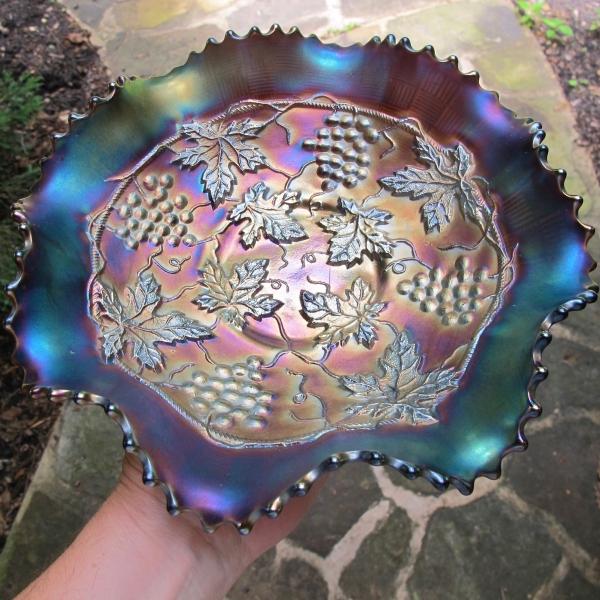Antique Northwood Grape & Cable Variant Amethyst Carnival Glass Bowl St. Joe Michigan