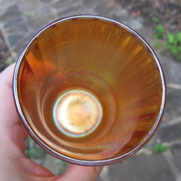 Antique Imperial Flute & Cane Marigold Carnival Glass Tumbler