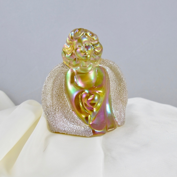 Fenton Autumn Gold Coralene Heavenly Companion Carnival Glass Angel Figurine