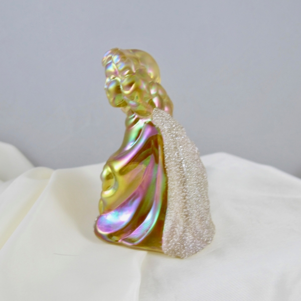 Fenton Autumn Gold Coralene Heavenly Companion Carnival Glass Angel Figurine