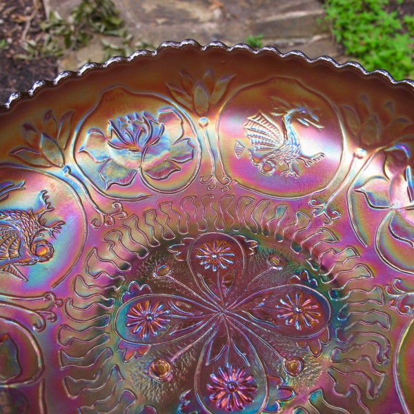Antique Fenton Dragon & Lotus Amethyst Carnival Glass ICS Footed Bowl