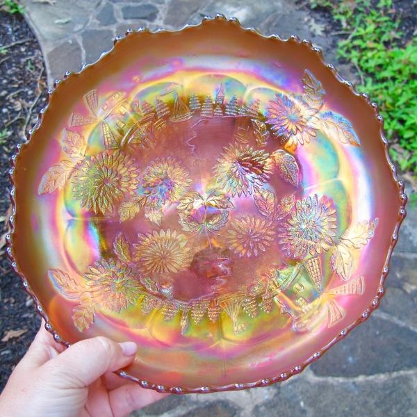 Antique Fenton Chrysanthemum Pumpkin Marigold Carnival Glass Large ICS Bowl