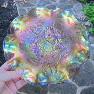 Antique Imperial Lavender Pansy Carnival Glass Plate *Flared Wide