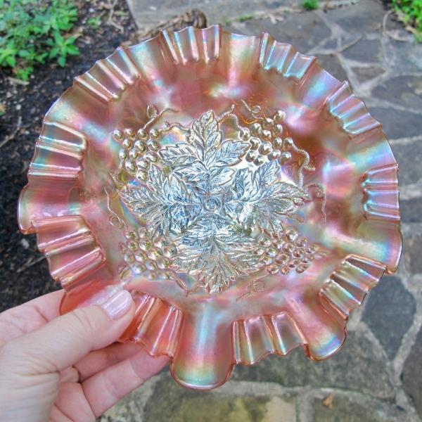Antique Northwood Grape Leaves Marigold Carnival Glass 3N1 Bowl