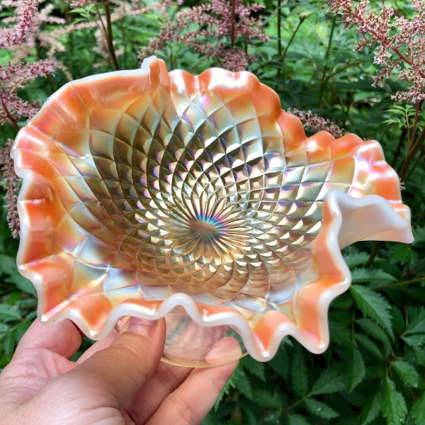 Antique Dugan Folding Fan Peach Opal Carnival Glass 2-Sides Up Compote