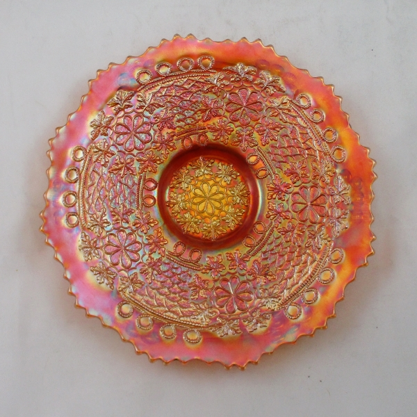 Antique Fenton Pumpkin Marigold Leaf Chain Carnival Glass Plate
