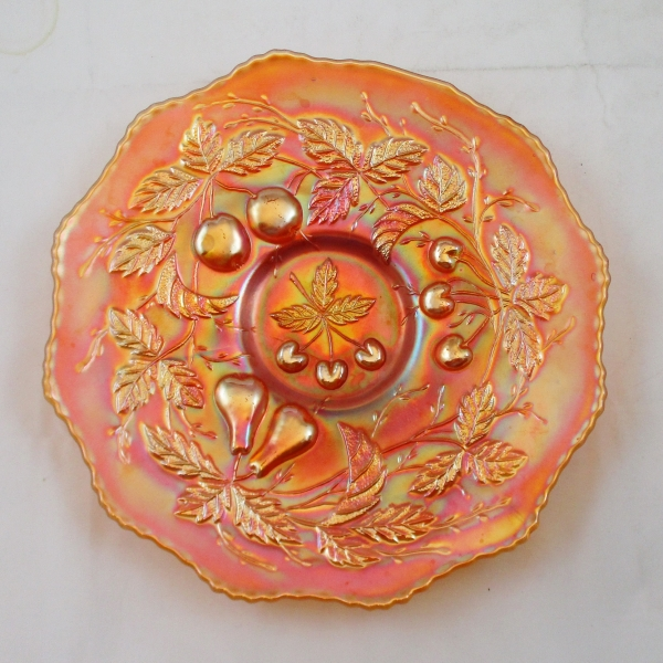 Antique Fenton Marigold Three Fruits Carnival Glass Plate