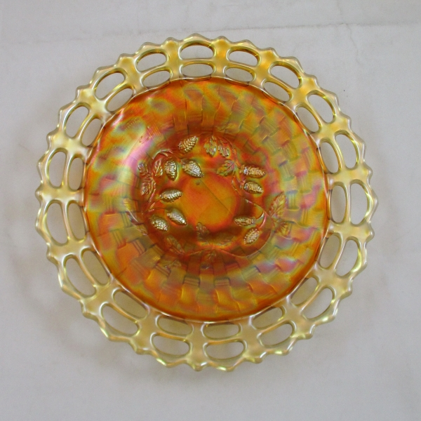 Antique Fenton Blackberry Open Edge Marigold Carnival Glass Plate
