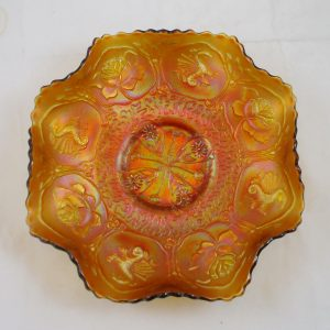 Antique Fenton Amber Dragon & Lotus Carnival Glass Bowl
