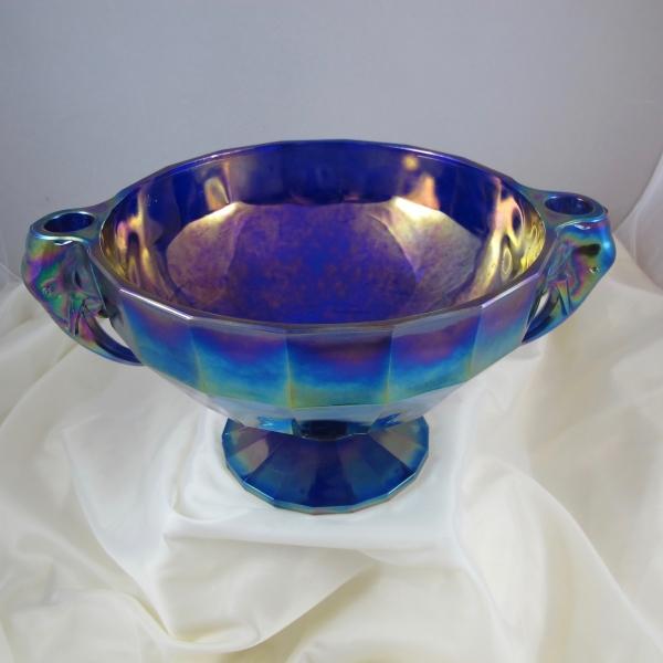 Summit Art Glass Blue Elephant Carnival Glass Candleholder Bowl - LARGE