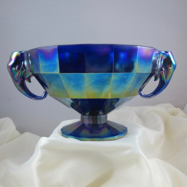 Summit Art Glass Blue Elephant Carnival Glass Candleholder Bowl - LARGE