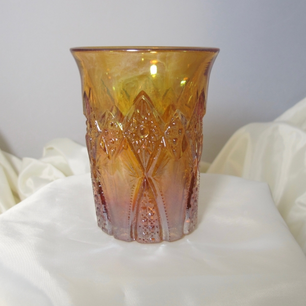 Antique Unknown Marigold Hobstar Band Carnival Glass Tumbler