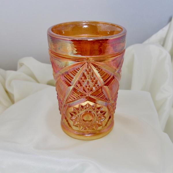 Antique Unknown Marigold Omnibus Carnival Glass Tumbler