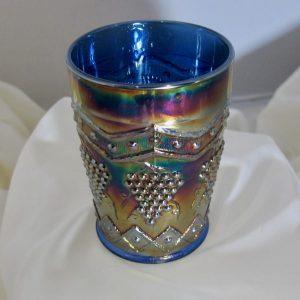 Antique Fenton Blue Lattice & Grape Carnival Glass Tumbler