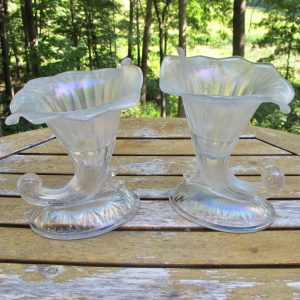 Antique Fenton Cornucopia 950 White Stretch Carnival Glass Candleholders