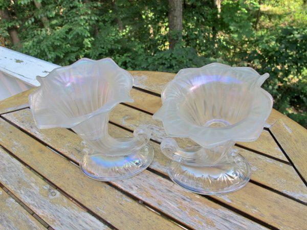 Antique Fenton Cornucopia 950 White Stretch Carnival Glass Candleholders