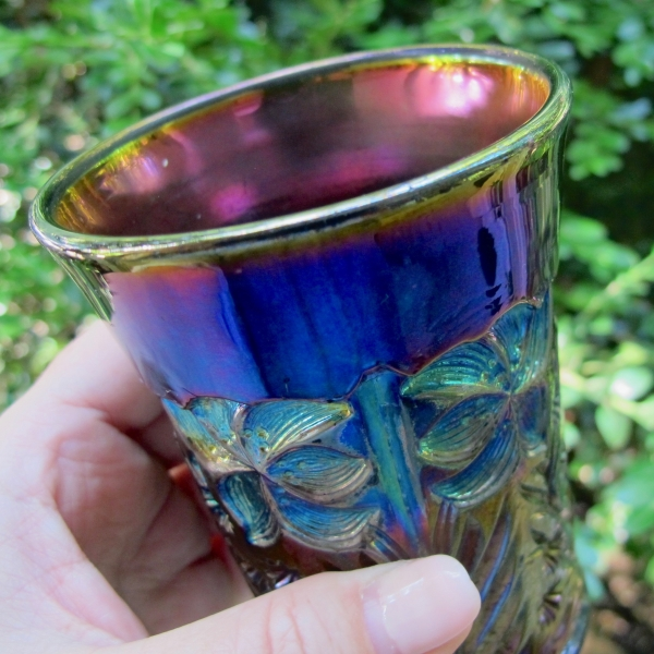 Antique Imperial Tiger Lily Amethyst Carnival Glass Tumbler