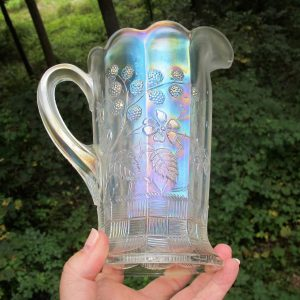 Antique Northwood White Raspberry Carnival Glass Milk Pitcher