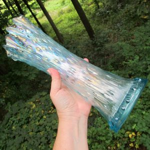 Antique Northwood Ice Blue Mid-size Tree Trunk Carnival Glass Vase
