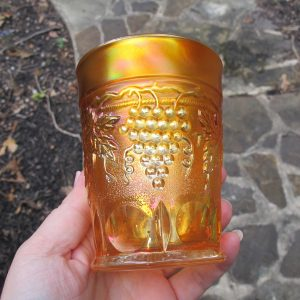 Antique Northwood Grape & Cable Marigold Carnival Glass Tumbler - STIPPLED