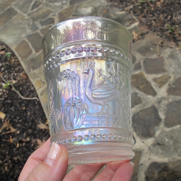 Antique Northwood Peacock at the Fountain White Carnival Glass Tumbler