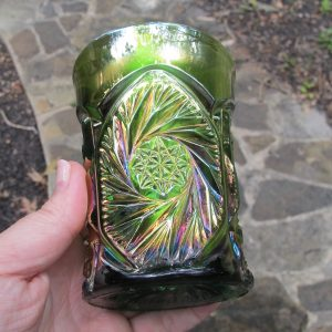Antique Cambridge Double Star Green Carnival Glass Tumbler