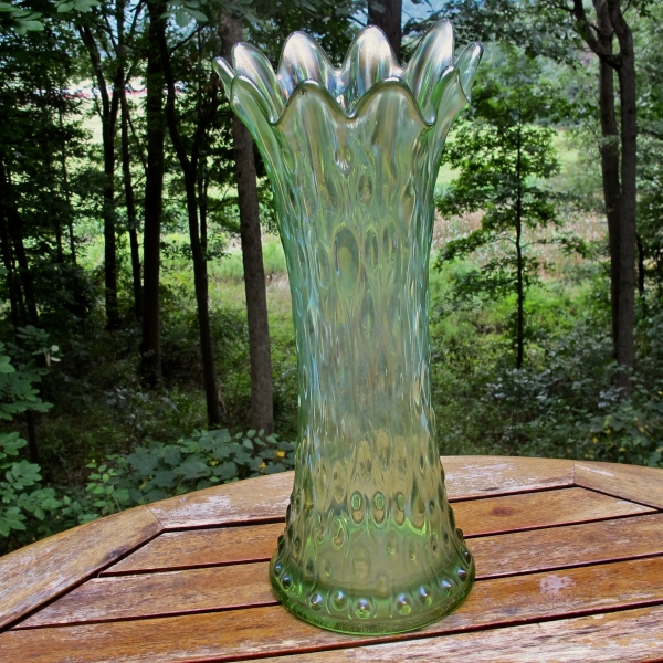 Antique Northwood Lime Green Mid-size Tree Trunk Carnival Glass Vase