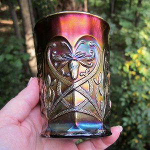 Antique Northwood Wishbone Amethyst Carnival Glass Tumbler