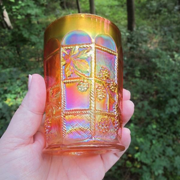 Antique Fenton Blackberry Block Pumpkin Marigold Carnival Glass Tumbler