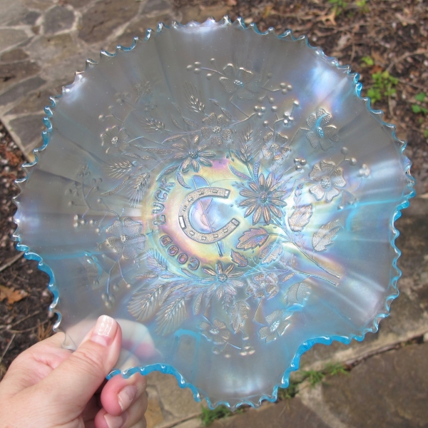 Antique Northwood Ice Blue Good Luck Carnival Glass Bowl