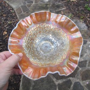 Antique Dugan Peach Opal Soutache Carnival Glass Bowl