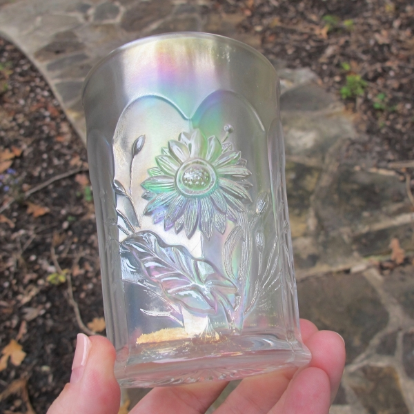 Antique Northwood White Dandelion Carnival Glass Tumbler