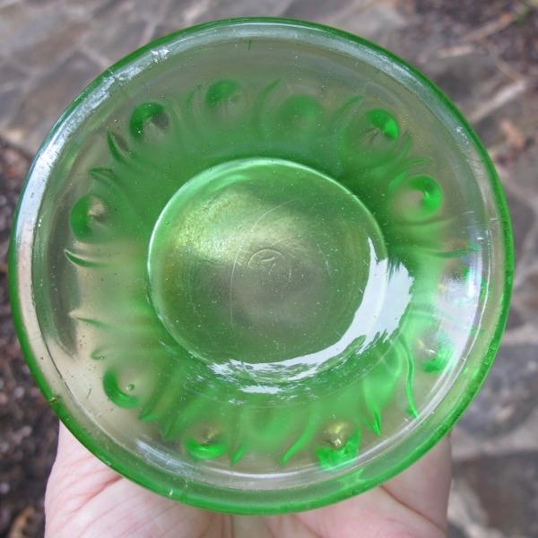 Antique Northwood Ice Green Tree Trunk Carnival Glass Squat Vase