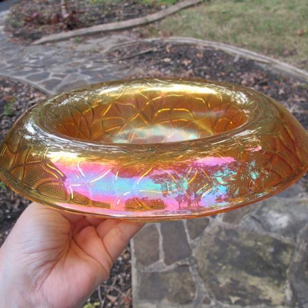 Antique Imperial Marigold Soda Gold Carnival Glass Rolled Console Bowl