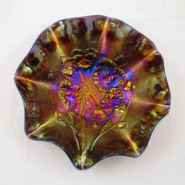 Antique Imperial Purple Pansy Carnival Glass Bowl