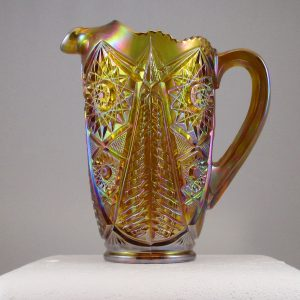 LE Smith Amber Valtec Carnival Glass Water Pitcher