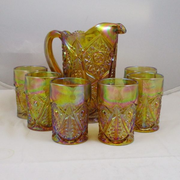 LE Smith Amber Valtec Carnival Glass Water Set