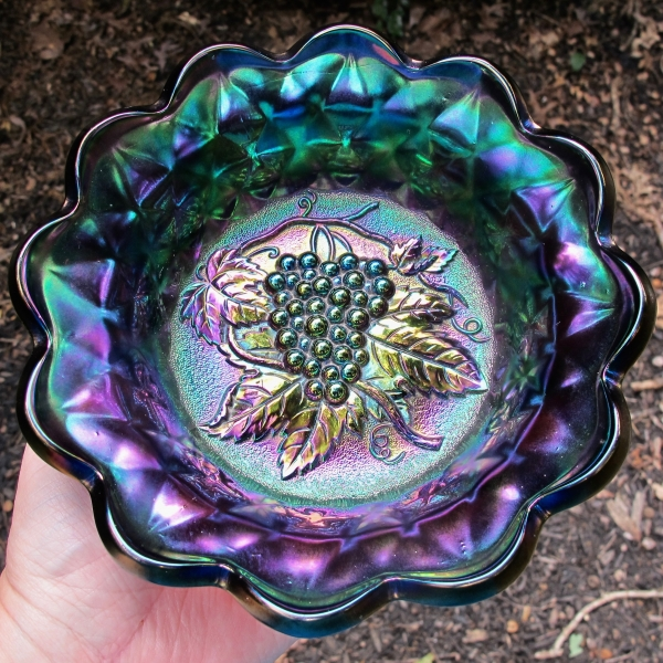 Antique Imperial Electric Amethyst Heavy Grape Carnival Glass Flared Bowl