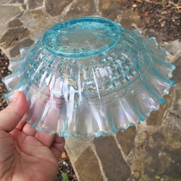 Antique Northwood Grape & Cable Ice Blue Carnival Glass PCE Bowl - STIPPLED