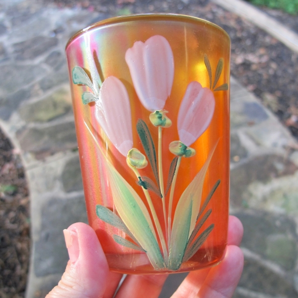 Antique Fenton Enameled Freesia Marigold Carnival Glass Tumbler