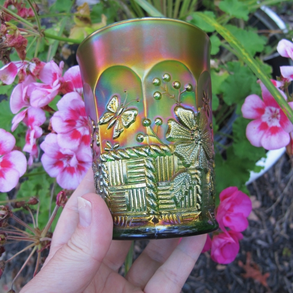 Antique Northwood Springtime Green Carnival Glass Tumbler