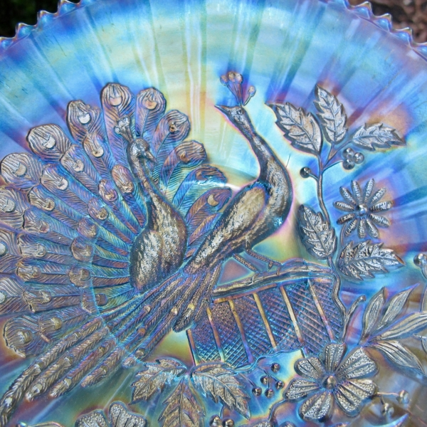 Antique Northwood Peacocks on the Fence Ice Blue Carnival Glass Plate