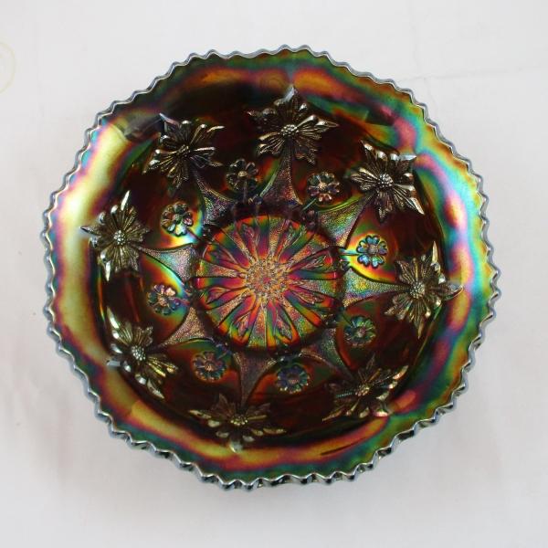 Antique Fenton Blue Little Flowers Carnival Glass Round Large Bowl