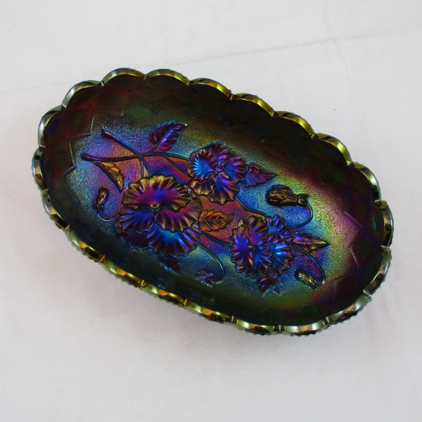 Antique Imperial Purple Pansy Carnival Glass Relish Oval Bowl