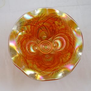 Antique Imperial Marigold Scroll Embossed Carnival Glass Large Compote