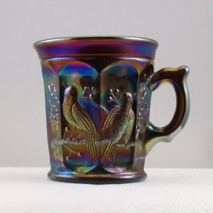 Antique Northwood Amethyst Singing Birds Carnival Glass Mug