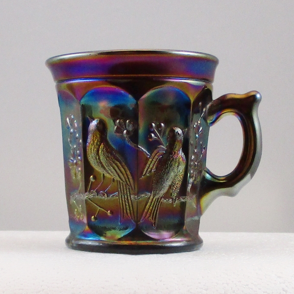 Antique Northwood Amethyst Singing Birds Carnival Glass Mug