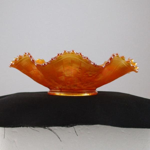 Antique Northwood Pumpkin Marigold Good Luck Carnival Glass Bowl